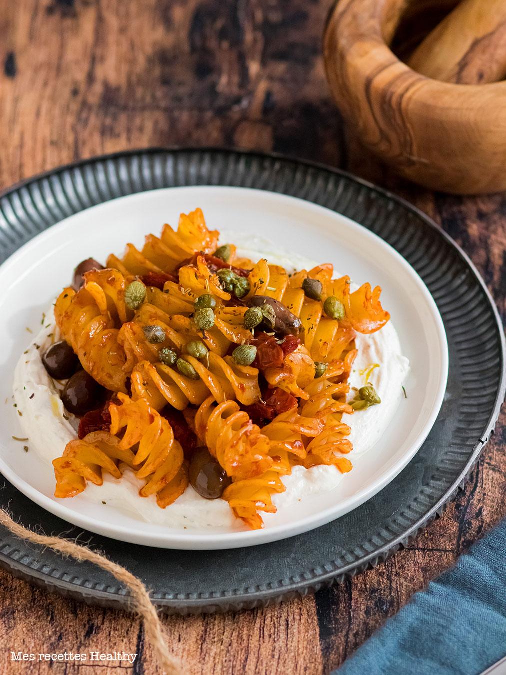 recette healthy-pate-pasta-facile-rapide-Pâte-aux-olives-et-tomates