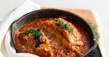 recette healthy-saumon à la tomate-parmesan-sauce