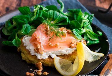 recette healthy-galette de poireau-saumon fume-fromage de chèvre-legume