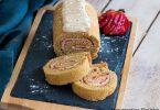 recette healthy-gateau roulée à la fraise-vanille-biscuit