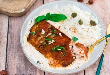 recette healthy-saumon grille-epice-mascarpone
