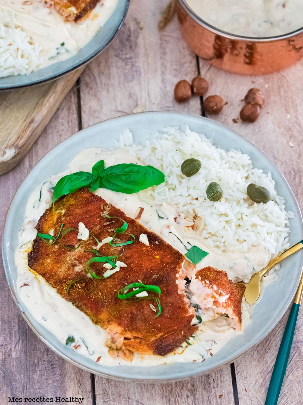Saumon grillé et sa sauce crémeuse au mascarpone
