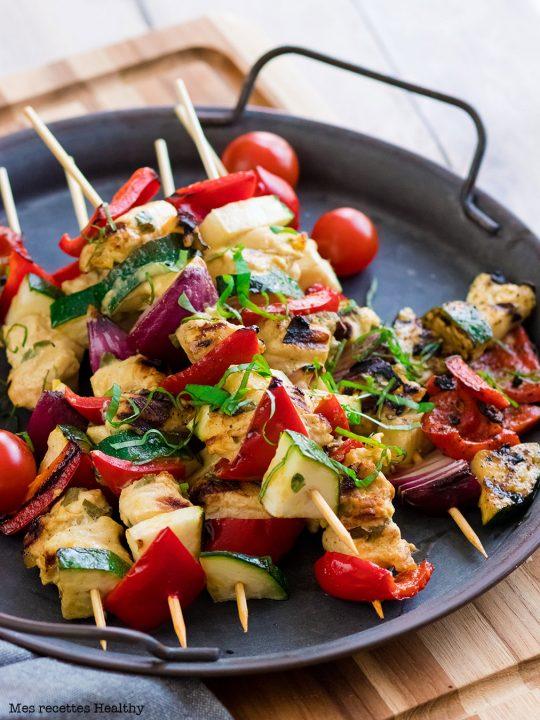 Brochette de poulet mariné aux légumes