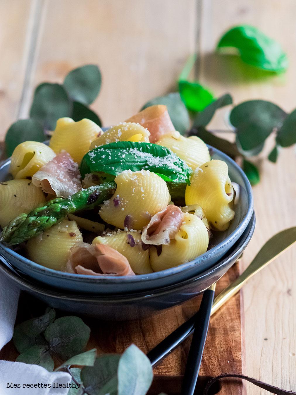 recette healthy-lumaconi -asperge-jambon sec