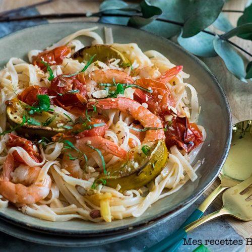 Tagliatelle aux crevettes et citron vert