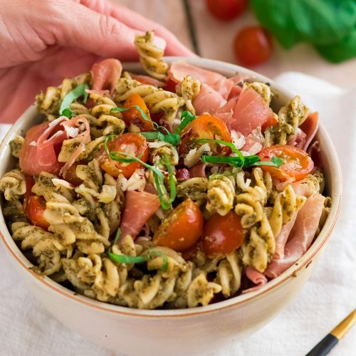 recette healthy-salade de pâte-pesto-jambon