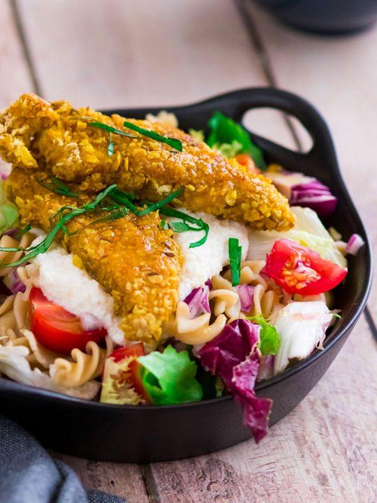 recette healthy-salade au poulet pané-sauce parmesan-cedar-caesar