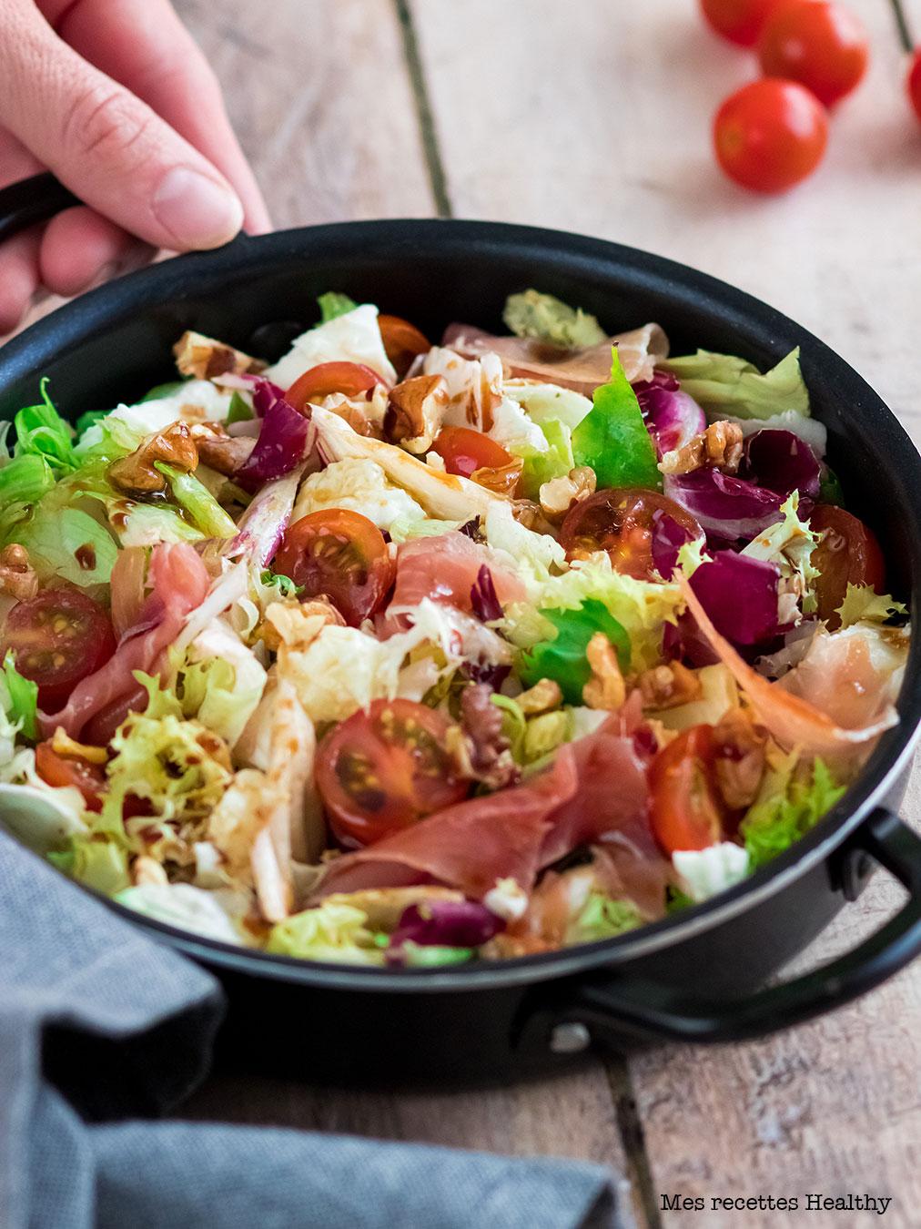 recette healthy-salade mozzarella-jambon sec-sain