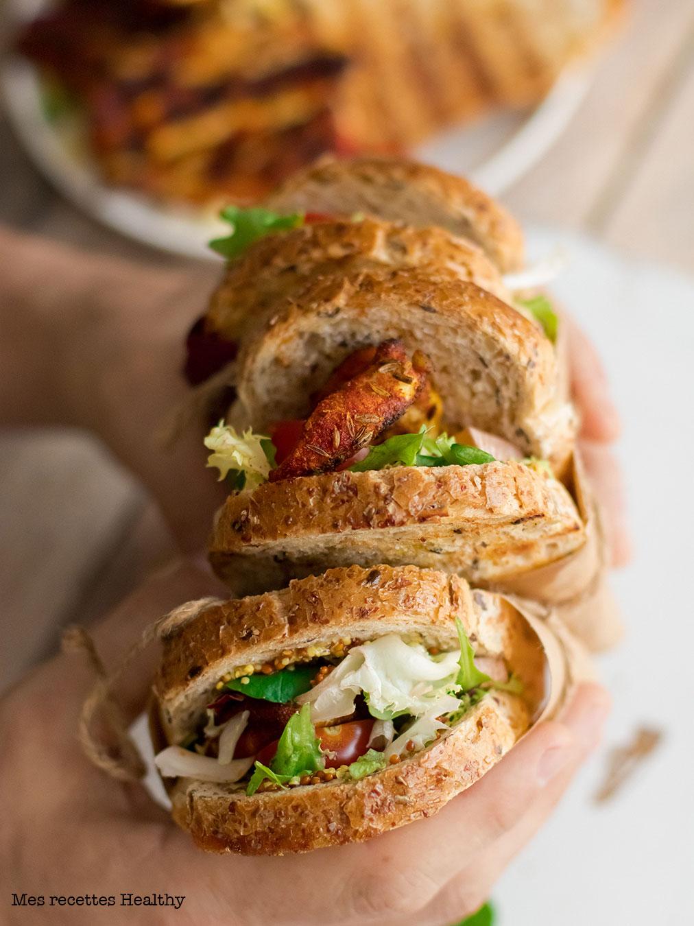 recette healthy-sandwich-fromage-poulet-epice