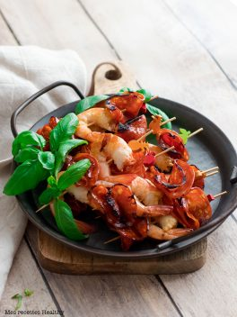 Brochette de crevette et chorizo