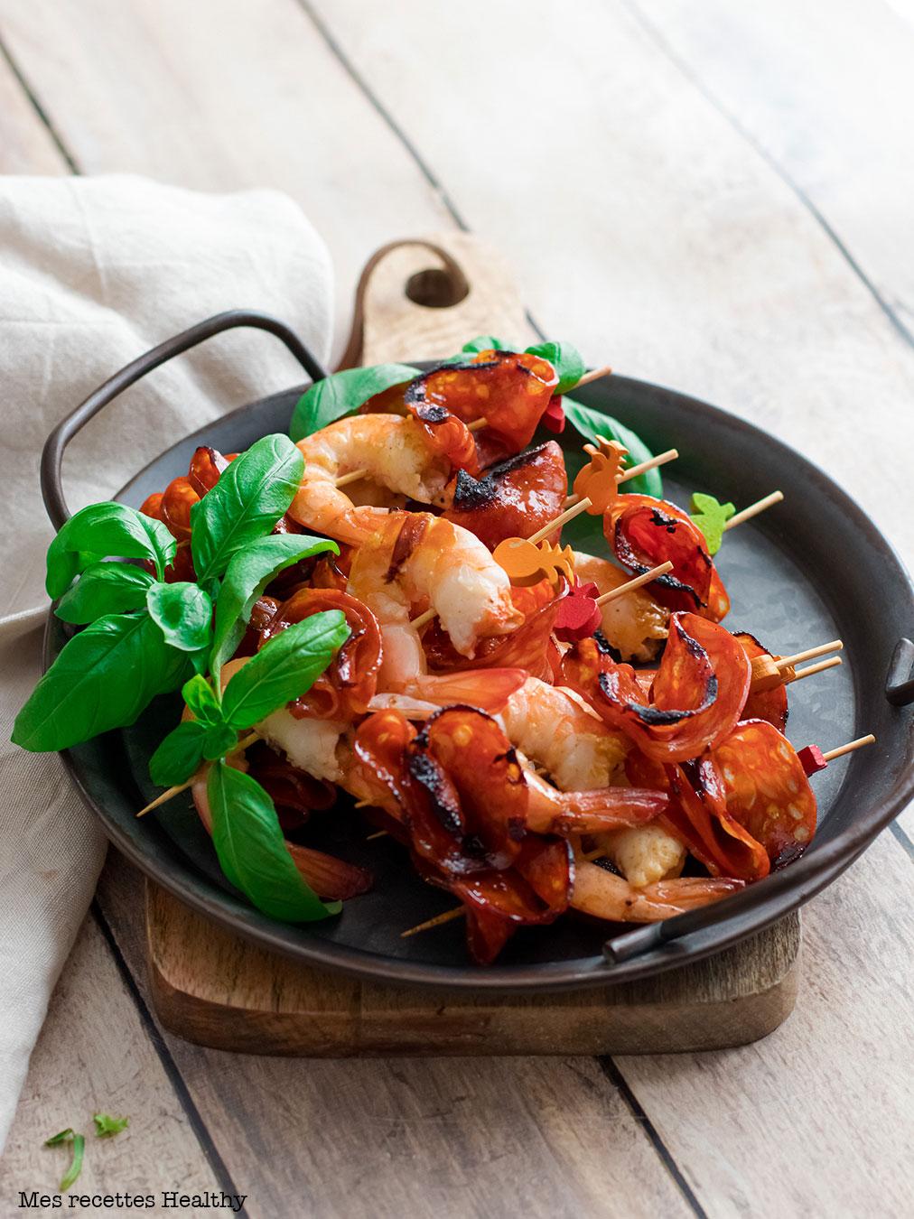 recette healthy-chorizo-crevette