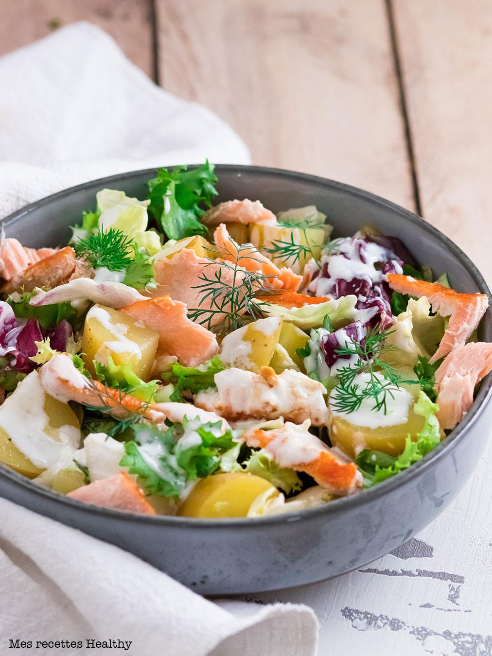 Salade de saumon grillé et pomme de terre