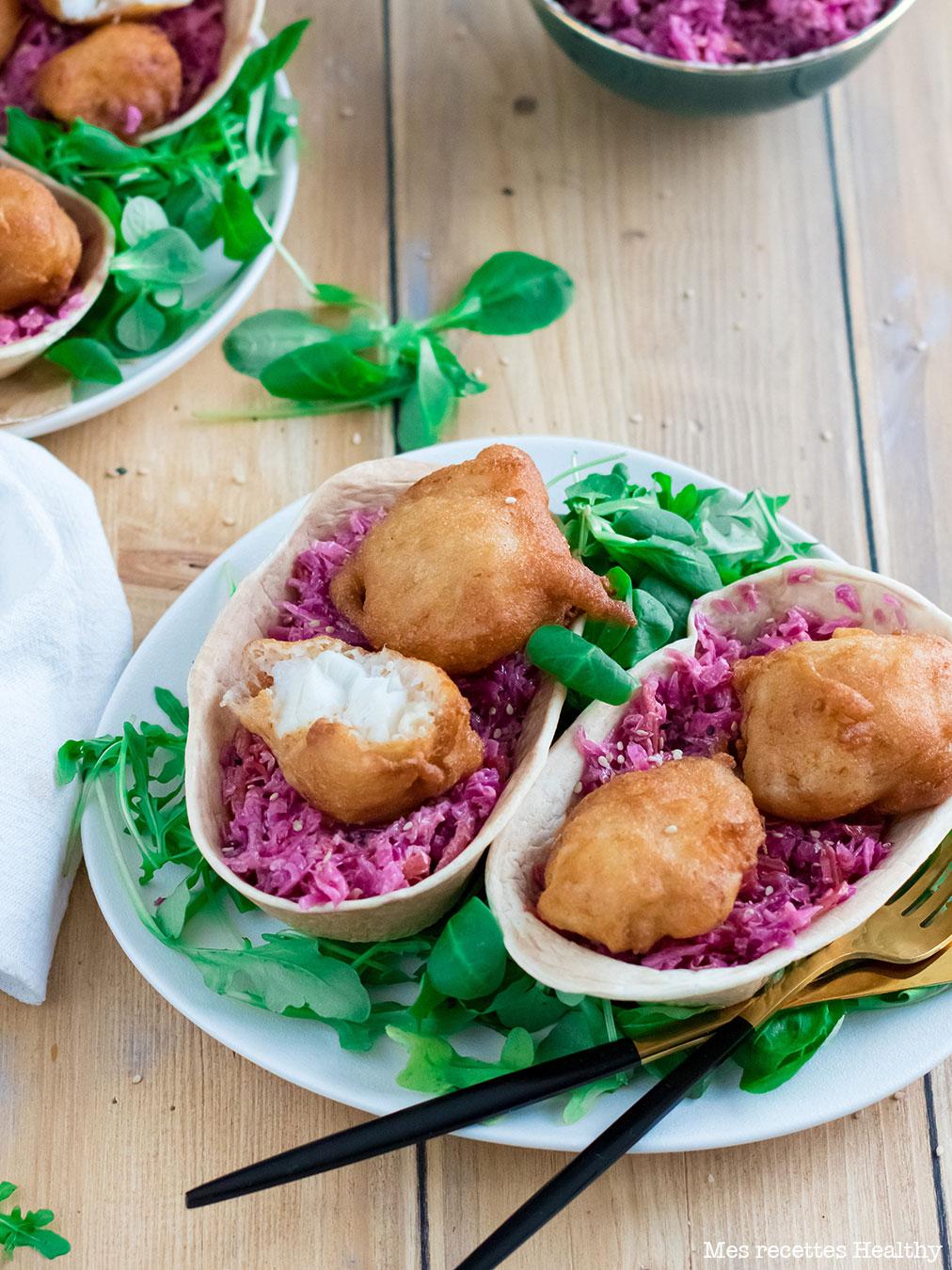 recette healthy-beignet cabillaud-coleslaw