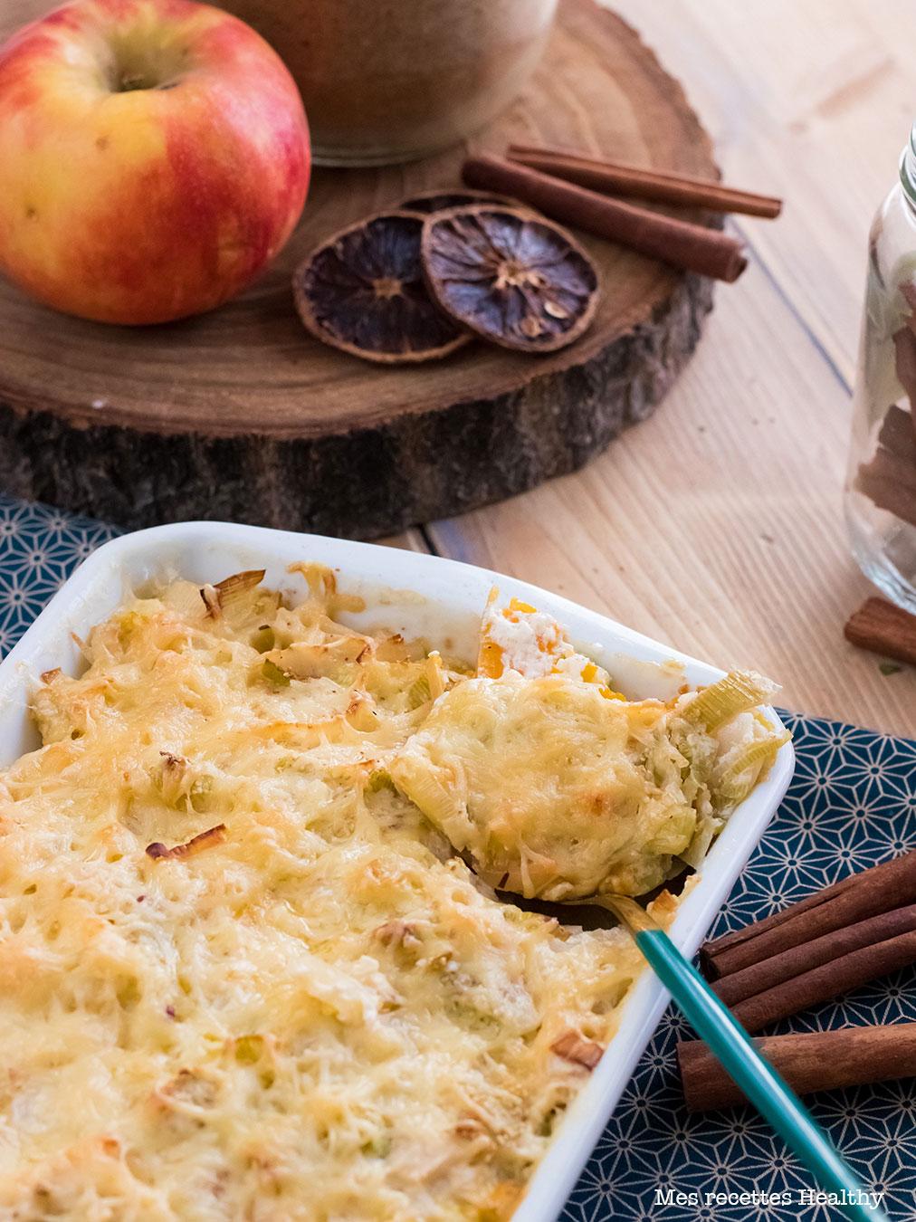 recette healthy-Gratin de buttent et fondue de poireau