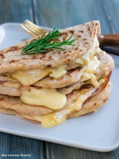 recette healthy-Piadina au reblochon et au bacon